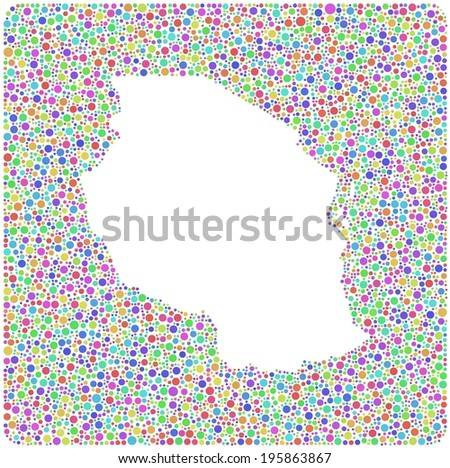 Map of Tanzania - Africa - into a square icon  a mosaic of harlequin bubbles