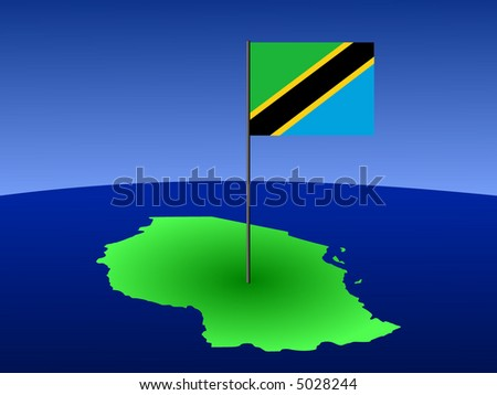 map of Tanzania and their flag on pole illustration