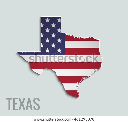 Map of Texas. Abstract vector map with flag of USA