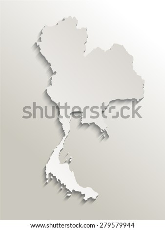 map of thailand card paper 3D natural, vector illustration - stock vector