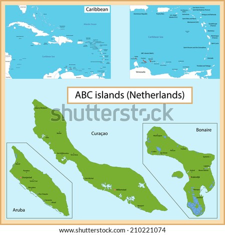 Map of the Aruba, Bonaire, Curacao islands drawn with high detail and accuracy. - stock vector