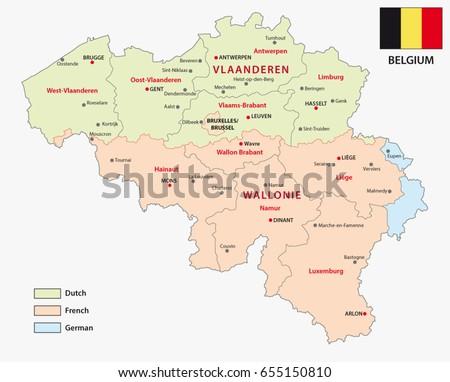Map Belgian Regions Language Areas Stock Vector 655150810 Shutterstock