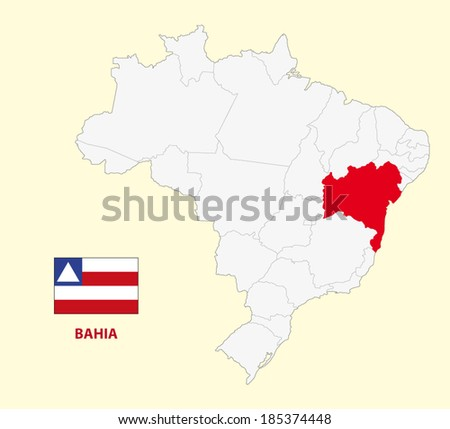 map of the brazilian state bahia with flag - stock vector