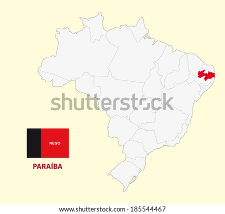 map of the brazilian state paraiba with flag