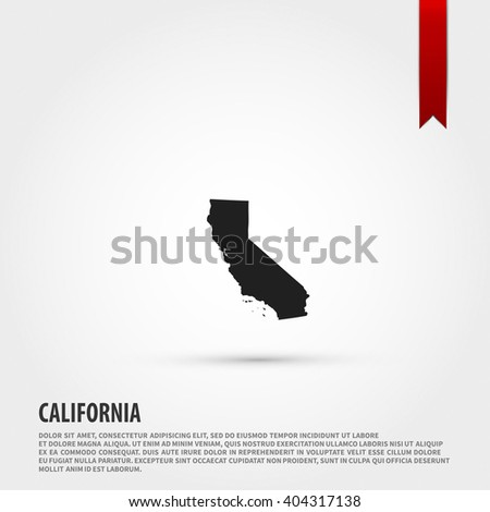 Map of the California state. Vector illustration design element. Flat style design icon. - stock vector