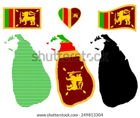 Map of the Democratic Socialist Republic of Sri Lanka and the different types of characters on a white background
