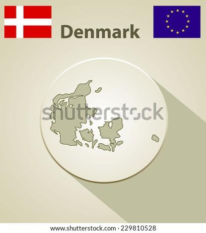 Map of the Denmark Including: flag of Denmark And European Union. - stock vector