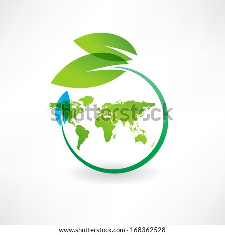map of the earth and leaves icon - stock vector