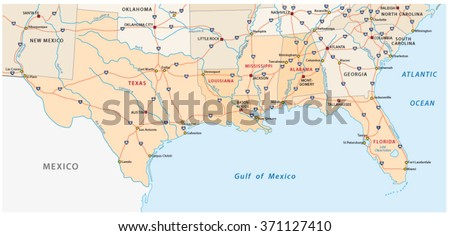 Map Five Us States On Gulf Stock Vector Shutterstock - Map of the us staes