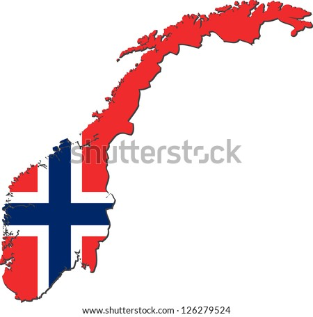 Map of the Kingdom of Norway with national flag isolated on white background - stock vector