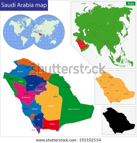 Map of the Kingdom of Saudi Arabia drawn with high detail and accuracy - stock vector