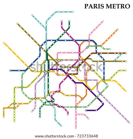 Map of the Paris metro, Subway, Template of city transportation scheme for underground road. Vector illustration.