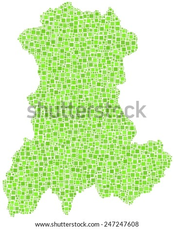 Map of the region of Auvergne - France - in mosaic of green squares