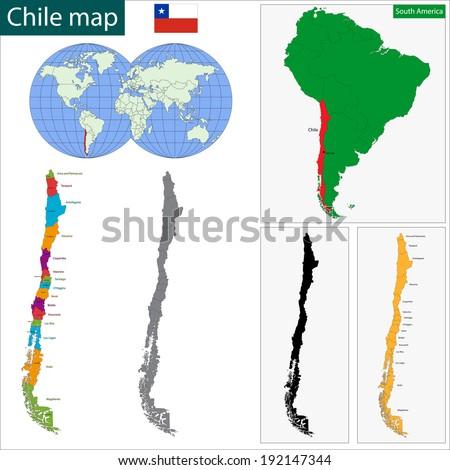 Map Republic Chile Regions Colored Bright Stock Vector - Chile regions map