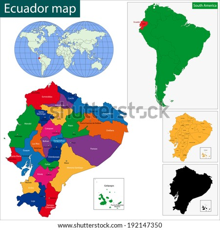 Map of the Republic of Ecuador with the regions colored in bright colors and the main cities - stock vector