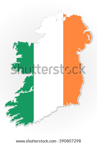 Map of the Republic of Ireland with national flag isolated on white background. Ireland flag overlay on Ireland map. Vector illustration - stock vector