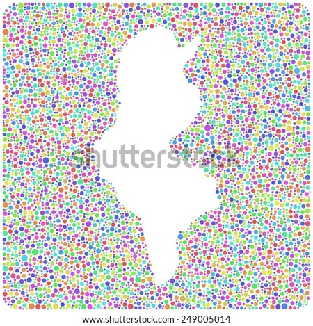 Map of the Republic of Tunisia - Africa - into a square icon. Mosaic of harlequin circles - stock vector