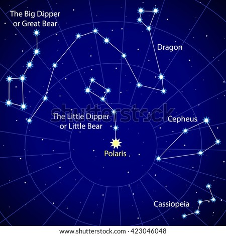 Map of the starry sky. Constellations of the Northern Hemisphere. Big Dipper and the polar of star. Dragon, Cepheus and Cassiopeia. Vector.