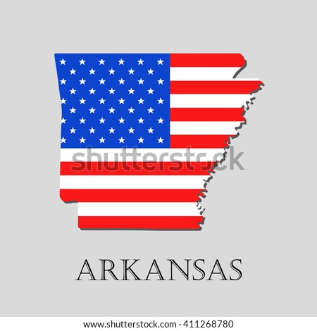 Map of the State of Arkansas and American flag illustration. America Flag map - vector illustration. - stock vector
