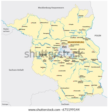 Hesse administrative political map german language vectores en stock map of the state of brandenburg in german language gumiabroncs Images