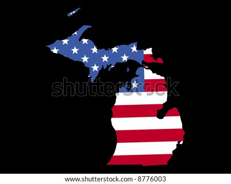 Map State Michigan American Flag Stock Vector Shutterstock - State of state of michigan on a us map