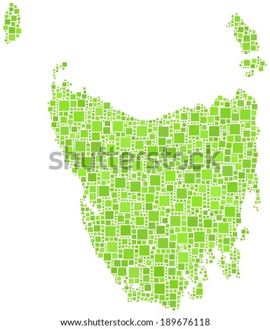 Map of the state of Tasmania - Australia - in a mosaic of green square - stock vector