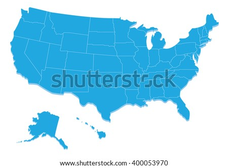 Map of the the United States - stock vector