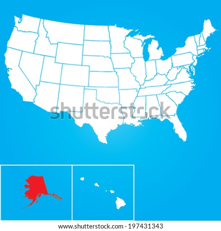 Map United States American States Alaska Stock Vector - Map of united states with alaska