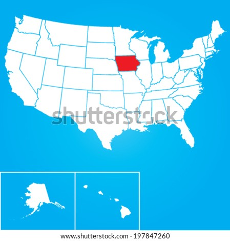 Map of the the United States of American with the states of Iowa selected