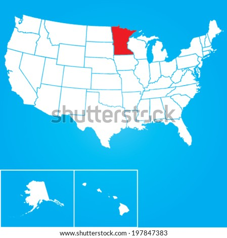 Map of the the United States of American with the states of Minnesota selected