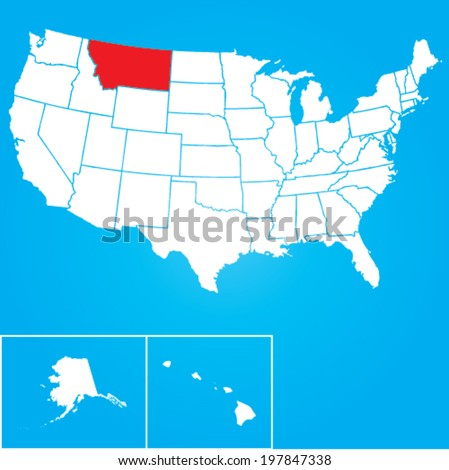 Map of the the United States of American with the states of Montana selected - stock vector