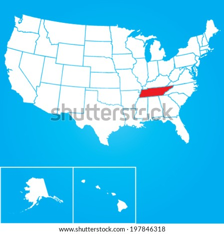 Map of the the United States of American with the states of Tennessee selected