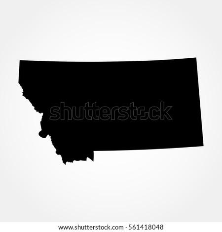 Map Us State Montana Stock Vector Shutterstock - Montana map us