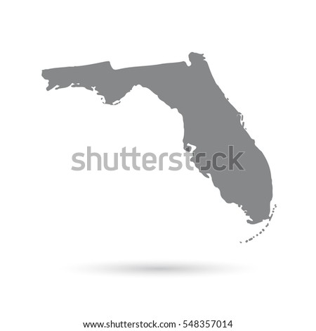 Florida Map Isolated On White Background Stock Vector - Us map white silhouette