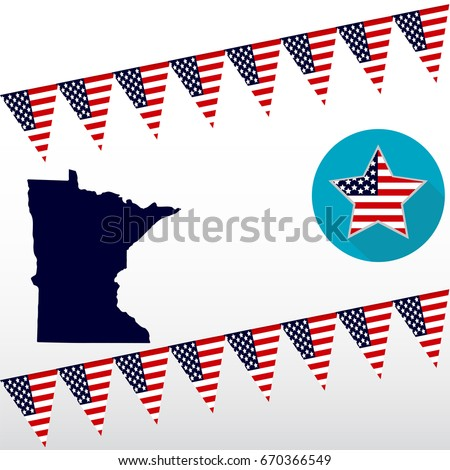 Map Us State Minnesota On White Stock Vector 670366549 Shutterstock