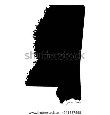 map of the U.S. state of Mississippi  - stock vector