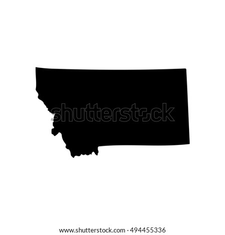 Map Us State Montana On White Stock Vector 494455336 Shutterstock