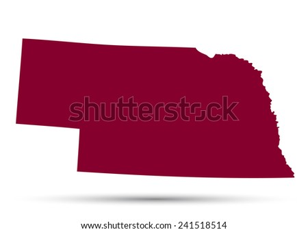 Map of the U.S. state of Nebraska on a white background  - stock vector