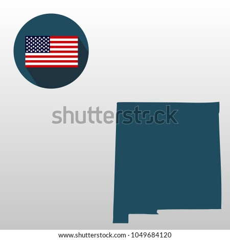 map of the u s state of new mexico on a white background american flag