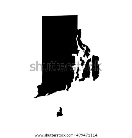 Map Of The U S State Of Rhode Island On A White Background
