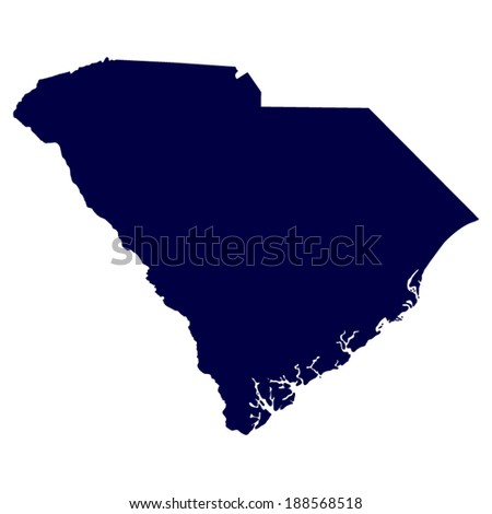 map of the U.S. state of South Carolina  - stock vector