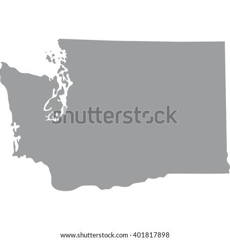 High Detailed Vector Map Washington Stock Vector - Gray map us