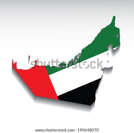 Map of the United Arab Emirates with flag colors. Vector illustration. - stock vector