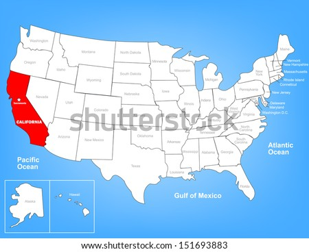 Map of the United States Highlighting the State of California; Illustrator 8
