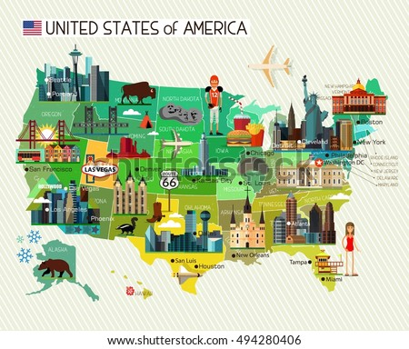 Map united states america travel icons stock vector 494280406 map of the united states of america and travel icons usa travel map vector sciox Choice Image