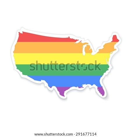 Map of The United States of America in LGBT (Lesbian, Gay, Bisexual, and Transgender) Flag Colors - Sticker with Shadow Isolated on White - stock vector