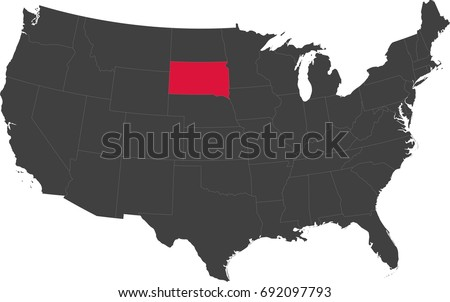 Map United States America Split Into Stock Vector - South dakota on the us map