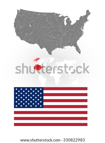 Map of the United States of America with lakes and rivers, location of US on the world map and National flag and ensign of the USA. Flag has a proper design and colors.