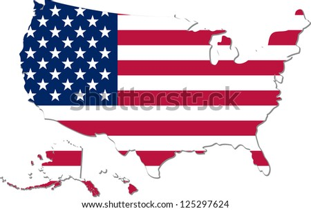 Map of the United States of America with national flag isolated on white background - stock vector