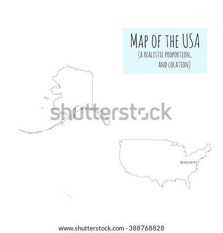 Map United States America Realistic Layout Stock Vector - Us map sketch